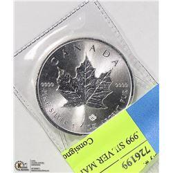$5 1 TROY OZ .999 SILVER MAPLE LEAF COIN