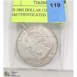 USD 1865 DOLLAR COIN UNAUTHENTICATED