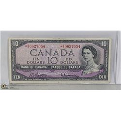 1954 CANADIAN REPLACEMENT $10 BILL *B/D PREFIX