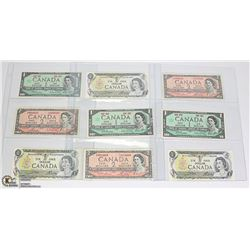 LOT OF 9 OLD CANADA $1 & $2 BANK NOTES