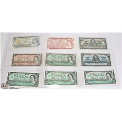 LOT OF 9 OLD CANADA BANK NOTES