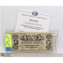 DJANGO' SCREEN USED CANAL BANK $10 BILL
