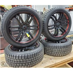 SET OF 4 225/40R18 DUNLOP M+S TIRES WITH UNIVERSAL