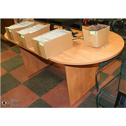 NEW WOOD TONE OVAL SHAPED TABLE 70 X 29