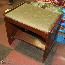 WOODEN FOOT STOOL WITH PADDING 20 X 14 X 17