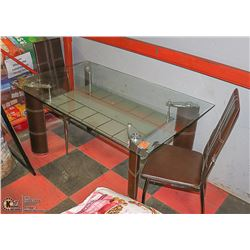 BROWN LEATHERETTE GLASS TOP KITCHEN TABLE WITH 2