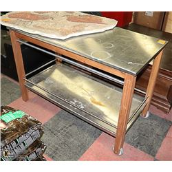 WOOD & STAINLESS STEEL KITCHEN CART 4FT X 2FT X 38