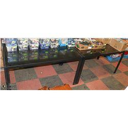 LOT OF 2 BLACK METAL GLASS TOP TABLES 55 X 32 X 30