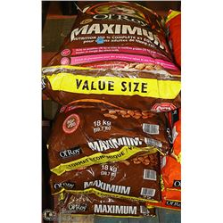 FOUR 18KG BAGS OF OL'ROY MAXIMUM DOG FOOD