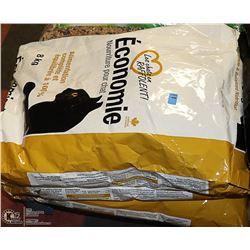 THREE 8KG BAGS OF ECONOMY CAT FOOD