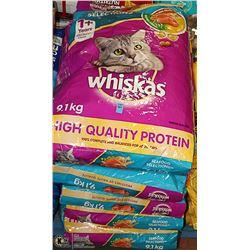 FIVE 9.1KG BAGS OF WHISKAS SEAFOOD CAT FOOD
