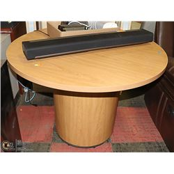NEW WOOD TONE ROUND PEDISTAL TABLE 42 X 30