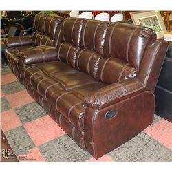 NEW BROWN LEATHERETTE RECLINING SOFA WITH LOVESEAT