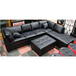 NEW BLACK LEATHERETTE CHAISE LOUNGE SECTIONAL WITH