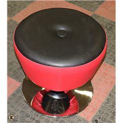 NEW PLUSH SINGLE BUTTON RED + BLACK STOOL