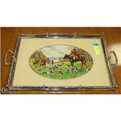ANTIQUE GLASS SERVING TRAY 18 X 12 INCH