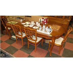 DINING TABLE WITH 6 CHAIRS AND TABLE PADS
