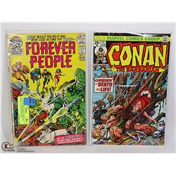 2 COLLECTOR COMICS FOREVER PEOPLE #7 AND CONAN THE