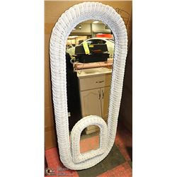 2 WHITE WICKER MIRRORS 52 INCH TALL & 17 INCH TALL
