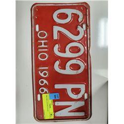 1966 OHIO LICENSE PLATE