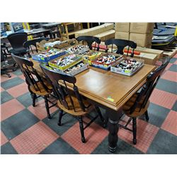WOOD DINING TABLE WITH 6 CHAIRS AND LEAF 76 X 41