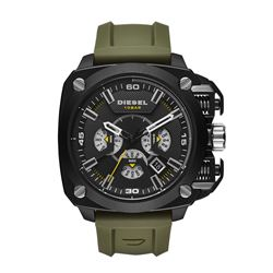 NEW DIESEL TRIPLE CHRONO GREEN SILICONE STRAP $395