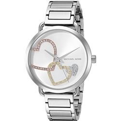 NEW MICHAEL KORS SILVER TONE 37MM MSRP $300