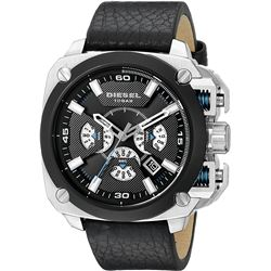NEW DIESEL 57MM TRIPLE CHRONO BLACK DIAL MSRP $399