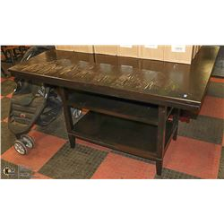 BAR HEIGHT TABLE WITH GLASS INSERT 57 X 42 X 36