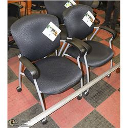LOT OF 3 BLACK & GREY WAITING ROOM CHAIRS ON WHEES