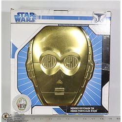STAR WARS C3PO HEROES KEYCHAIN TIN WITH 8 HERO