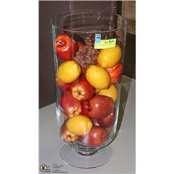 XL GLASS TABLE/FLOOR VASE FULL OF
