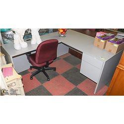 GREY CORNER OFFICE DESK SOLD WITH BLACK & RED