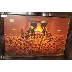 101 DALMATIONS FRAMED PRINT 3FT X 2 FT REAL FIRES