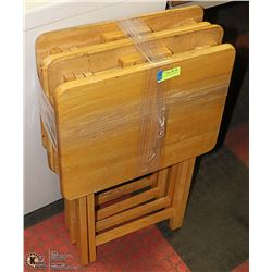 SET OF 4 SOLID WOOD FOLD-OPEN TV TRAY