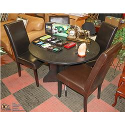 SOLID WOOD ESPRESSO BLACK ROUND DINING