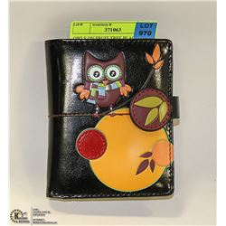 OWLS ON FRUIT TREE BLACK SHAG WEAR LADYS WALLET