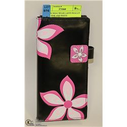 BLACK SHAG WEAR LADYS WALLET WITH PINK AND WHITE