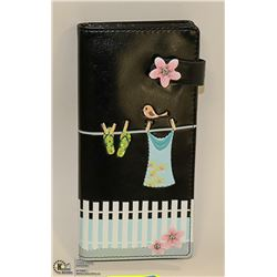 BLACK SHAG WEAR LADYS WALLET WITH BEACH SCENERY