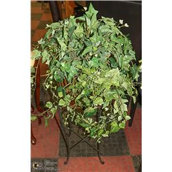 METAL+WICKER PLANT STAND ,27 IN HIGH  +PLANT