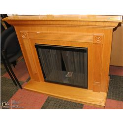 SOLID OAK WOOD FIRE PLACE WITH METAL