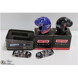 LOT OF NASCAR ITEMS DIE CASTS HELMETS