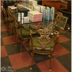 DELUXE CAST IRON & GLASS 10PC DINING SET, INCLUDES