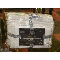 NEW GREY ALLURE 6 PIECE TOWEL SET, 100% COMBED
