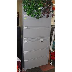 6.5 FOOT NEW GREY 6 DRAWER FILING CABINET