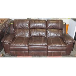 BROWN LEATHERETTE RECLINING SOFA WITH CONSOLE