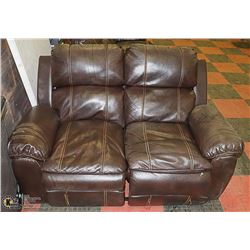 BROWN LEATHERETTE RECLINING LOVESEAT