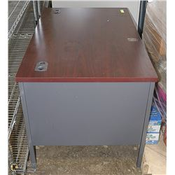 NEW WOOD TONE TOP METAL DESK WITH ARMCHAIR