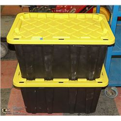 TWO HEAVY DUTY TOTES WITH LIDS