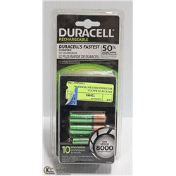 PACK OF DURACELL RECHARGEABLE BATTERIES W/ CHARGER